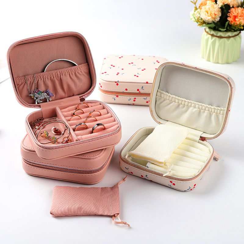 Simple Printed PU Jewelry Display Box Creative Portable Earrings Ring Bracelet Necklace Jewerly Storage Organizer