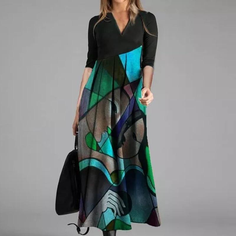 Zarif kadın elbise sonbahar 2020 kış Retro baskı parti elbiseler çapraz v yaka uzun kollu ince Midi elbise bayan rahat Veatidos