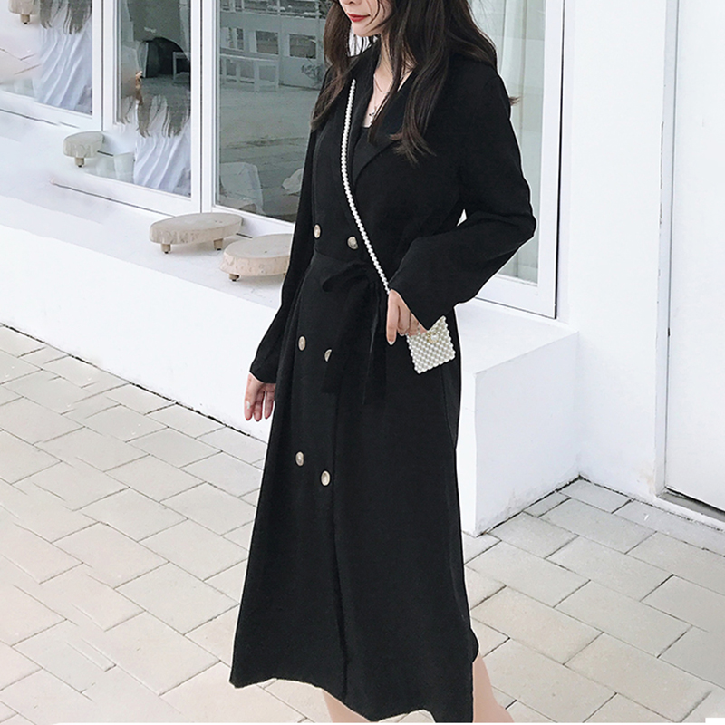 SexeMara 2019 Autumn New   Trench   Full Sleeve Solid Color Notched Collar Double Breasted Ladies Fashion Long Coat CCO014