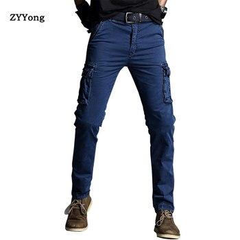 2020 New High Quality Khaki Casual Pants Men Cotton Military Joggers Cargo Pants Multi-Pocket Fashions Black Army Trousers