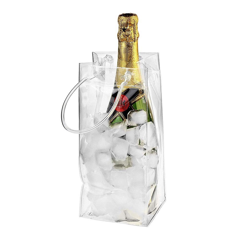 Герметичный мешок для льда из ПВХ, экологичный прозрачный пакет для льда, переносное ведро для льда, бутылка для вина, шампанского, чиллер с ...