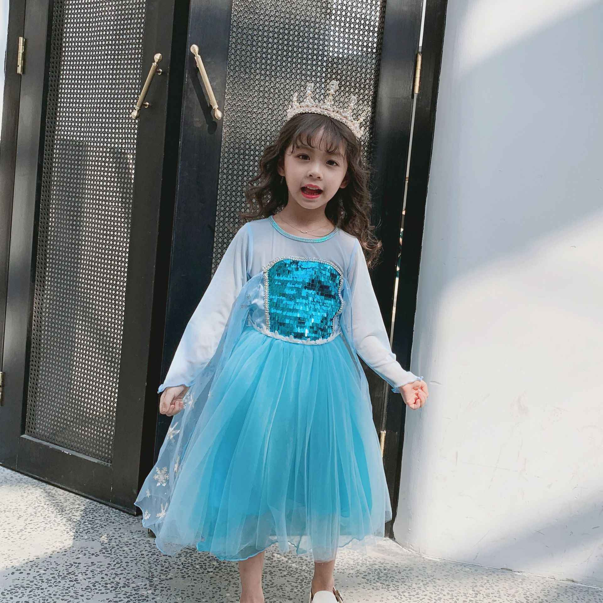 Disney Trẻ Em Áo Váy Cho Bé Gái Đầm Công Chúa Elsa Giáng Sinh Halloween Quần Áo Trẻ Em Cosplay Thanh Lịch Đông Lạnh Lưới Hoạt Hình