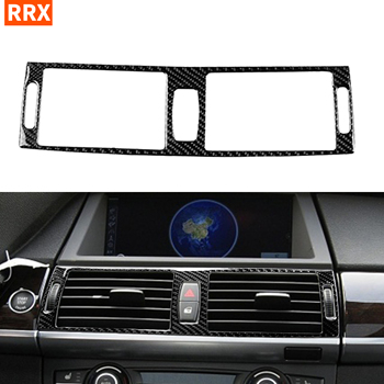 For BMW X5 E70 X6 E71 2008-2013 Carbon Fiber Center Dashboard Air Conditioning Vents Frame Stickers Tuning Car Accessories image