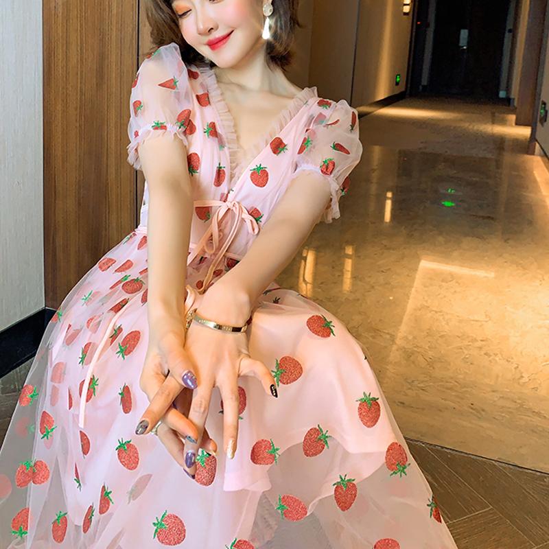 Runway Rhinestone Diamonds Strawberry Pink Mesh Maxi Dress Women Short Puff Sleeve Sexy V-neck Lace-up Bow Tunic Lolita Dress (25)
