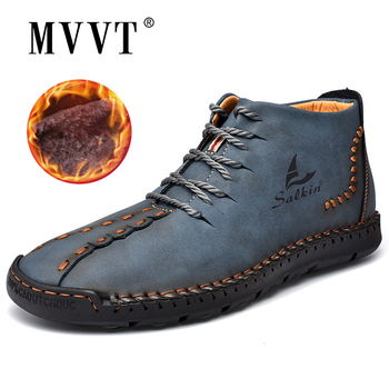 Hand-stitching Winter Men Boots Leather Patent Tooling Ankle Blue Outdoor Autumn Hombres Botas Casual Shoes - discount item  50% OFF Men's Shoes