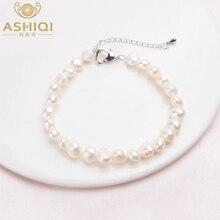 ASHIQI Genuine Natural Baroque Pearl Bracelets White Freshwater Pearl Jewelry Gift For Women Fashion Bracelets