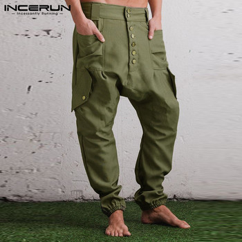 INCERUN Men Casual Pants Solid Color Multi Pockets Button Joggers Streetwear Trousers Men Fashion Drop Crotch Harem Pants S-5XL 1