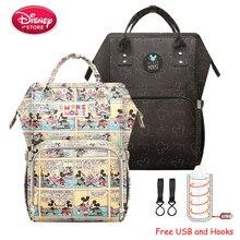 Disney Mickey Mouse Borse Per Pannolini Mummia con USB di Ricarica per la Cura Del Bambino Del Pannolino Del Sacchetto di Cura Da Viaggio Maternità Della Borsa Dello Zaino