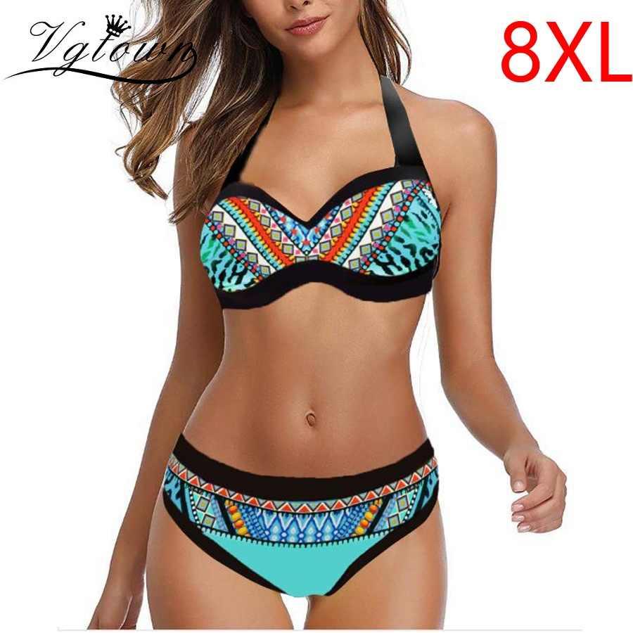 Plus Size Womens Tankini Set Push Up Padded Swimsuit Swimwear Beach Bathing Suit