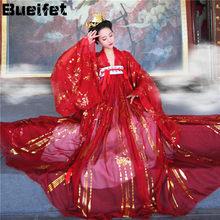 Oriental antiga dinastia tang hanfu vestido mulher trajes de dança tradicional chinesa vermelho elegante fada folk desempenho roupas