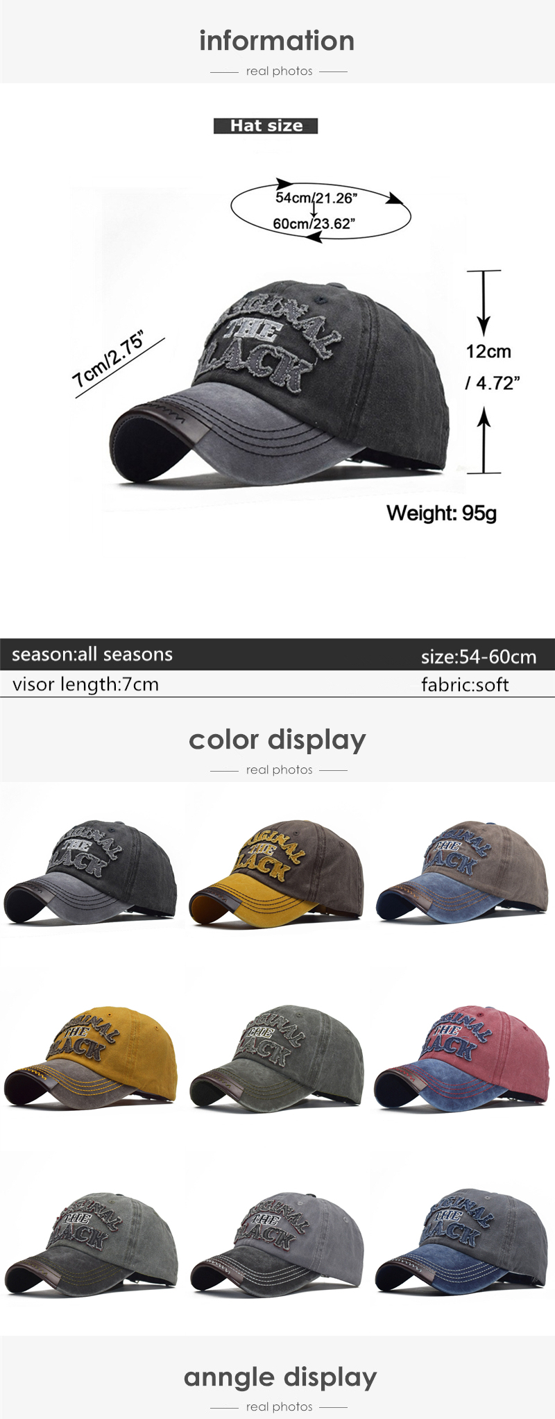 [NORTHWOOD] High Quality Black Baseball Caps for Men Women Washed Cotton Cap Bone Masculino Snapbacks Hip Hop Dad Hat Trucker