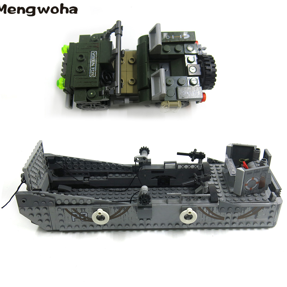 Image 4 - 413pcs WW2 Army Building Blocks USA LCM3 Landing Ship Military Battleship bricks With 6 soldier figures model Toys for childrenBlocks   -