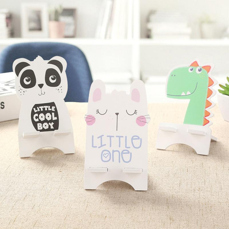 1pcs Universal Phone Stand Cartoon Wooden Light Weight Cute Animal Panda Desk Cellphone Holder Stand Mobile Phone Accessories