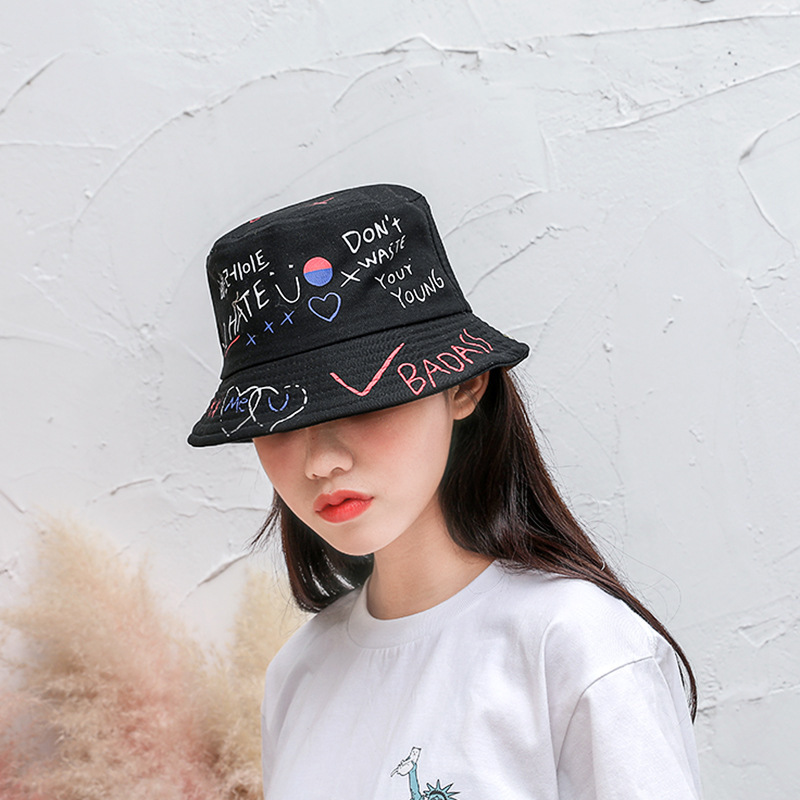 Fisherman Hat Fashion Street Personality Folding Sun Cap Bucket Hat Creative Graffiti Sunscreen Hat Casual Fashion Couple Hat