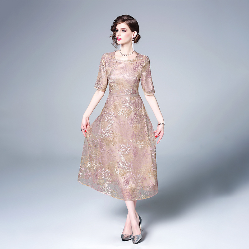 DiscountªBig-Swing-Dress Embroidery New-Style Women's Spring Long-Lace And Temperament