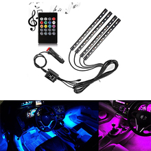 RGB Car Interior Decorative Floor Atmosphere Lamp Light Strip Smart Intelligent Voice Sensor Sound Music Control Car Stylig lit 45 x 11cm car decorative voice sensor sound controlled 5 color led light sticker multicolored