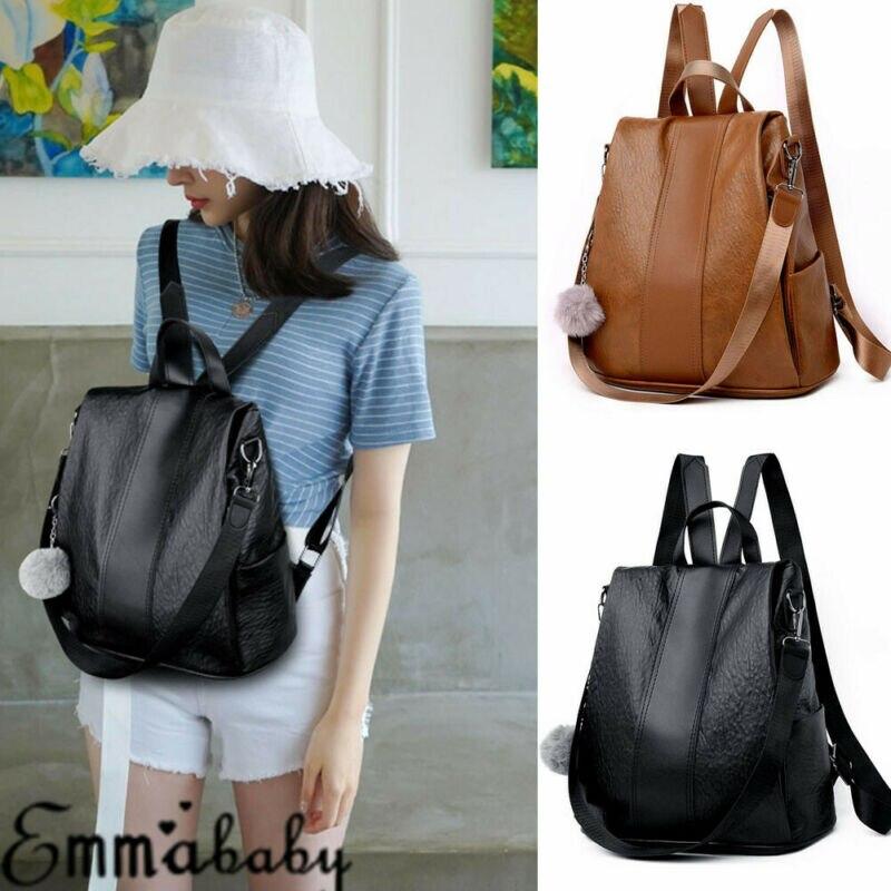 Newest Trendy Solid Casual  Women's Waterproof Leather Backpack Anti-Theft Rucksack School Shoulder Bag Black/Brown