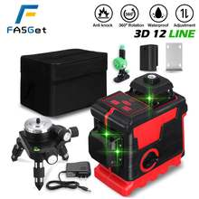 FASGet 3D 12 Lines Laser Level Self-Leveling Wireless Remote 360 Horizontal Vertical Cross Lines With Battery Wall Bracket Laser