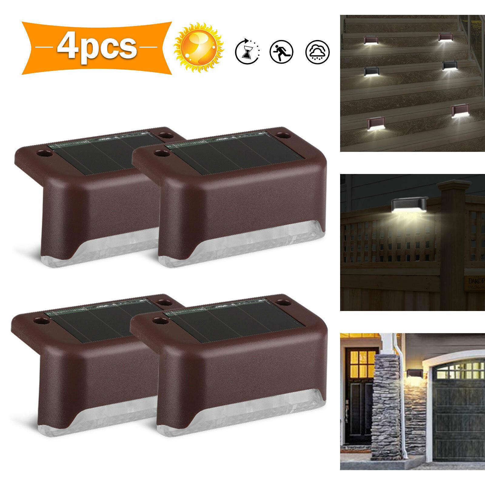 1/4/6PCS Solar Path Stair Outdoor Light Waterproof IP55 Solar Power Garden Fence Light Courtyard Pathway Fence Wall Light