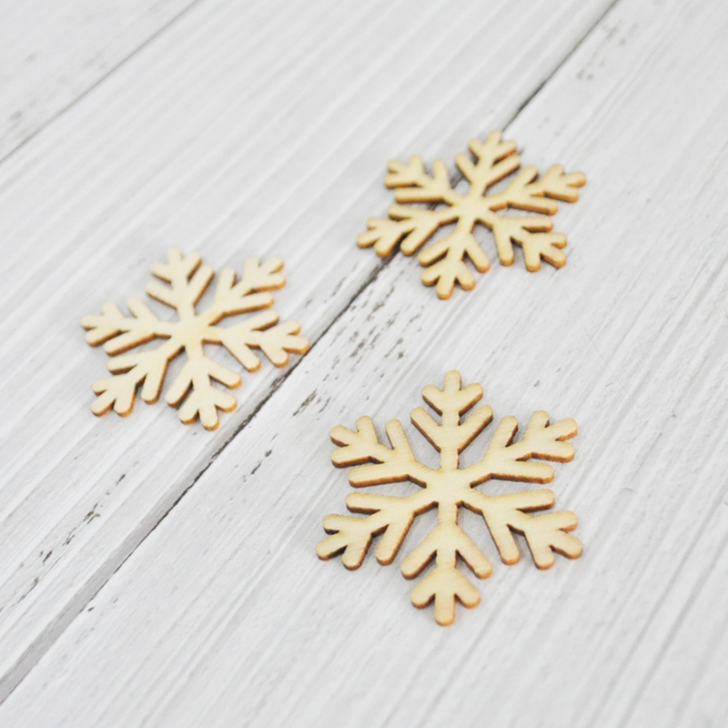 Happymems Unfinished Wood Shapes 24or120pcs Christmas Snowflake Snow Scrapbooking Wall Decor Stick DIY Craft