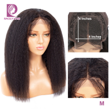 Расчески волосы 4x4 кудрявые прямые кружева закрытие парик кружева Закрытие человеческих волос парики для черных женщин Remy афро предварительно сорвал бразильский парик