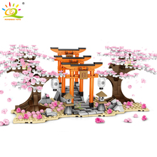 HUIQIBAO 647Pcs Cherry Blossom Festival Shrine Torii Street View City Building Blocks Sakura Tree Bricks Figures Toys Children