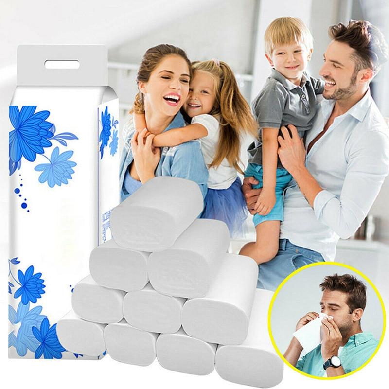 12 Roll Strong Soft 4-Ply Toilet Paper Bath Tissue Bulk Roll Skin-friendly H9