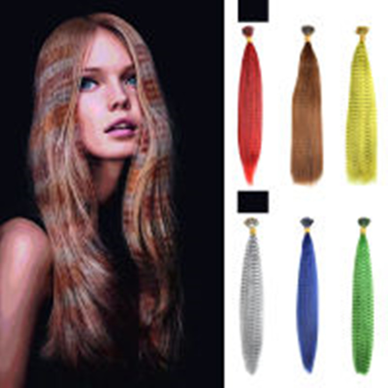 10pcs/pack Colorful Charming Feathers Hair Extensions Long Straight Hairdressing Supplies Feather Hair Extension Hair Bundle