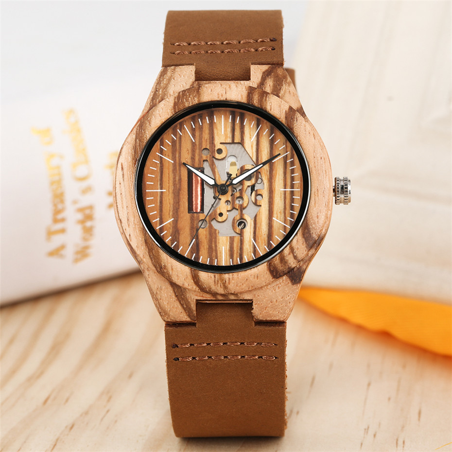 Creative Engraved Hollow Quartz Wood Watch Women Black/Brown Genuine Leather Lady Wristwatch Elegant Casual Female Wooden Clock