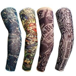 Ciclismo braço aquecedores temporária tatuagem manga braço cheio protetor solar tatuagem mangas deslizamento em segurança esportiva realista