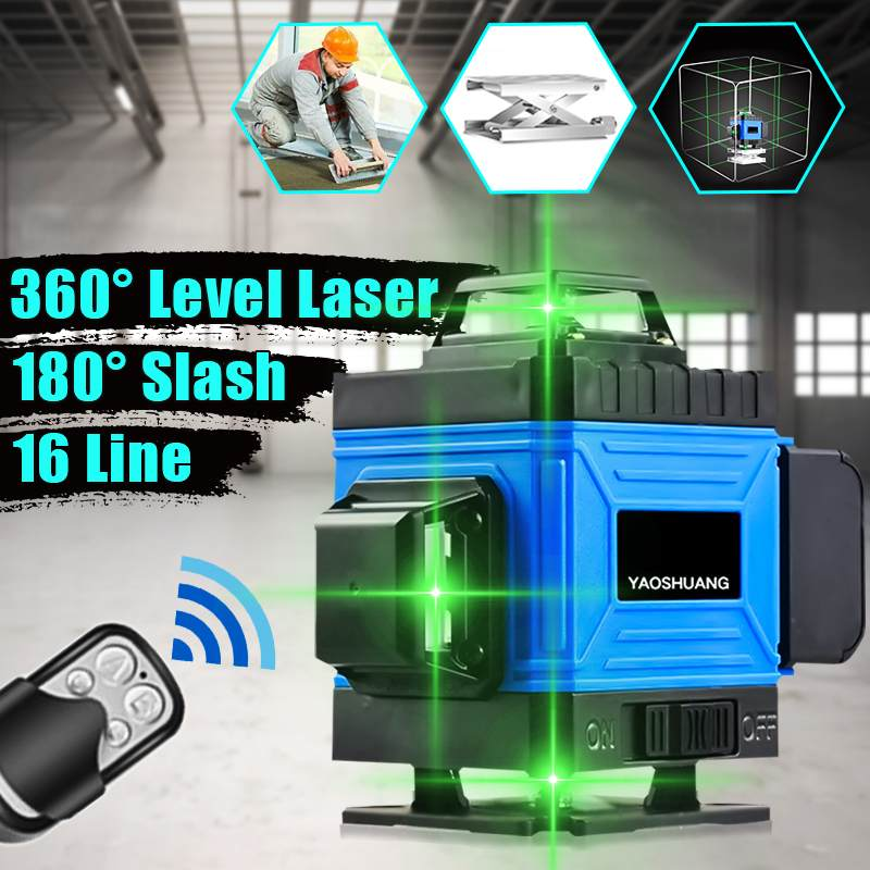 16 Lines 4D Laser Level Green Light Auto Self Leveling 360 Horizontal And Vertical Cross Waterproof Green Beam Level Level