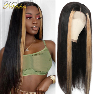Nadula Hair 13*4 Lace Front Wigs For Women Highlight Lace Front Human Hair Wig Brazilian Straight Lace Frontal Wig Streaks Wig(China)