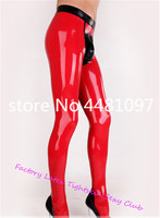 Sexy Latex Men's Pants With Socks Rubber SheathTrousers Red with Black Latex Pants for Men erotic men underwear