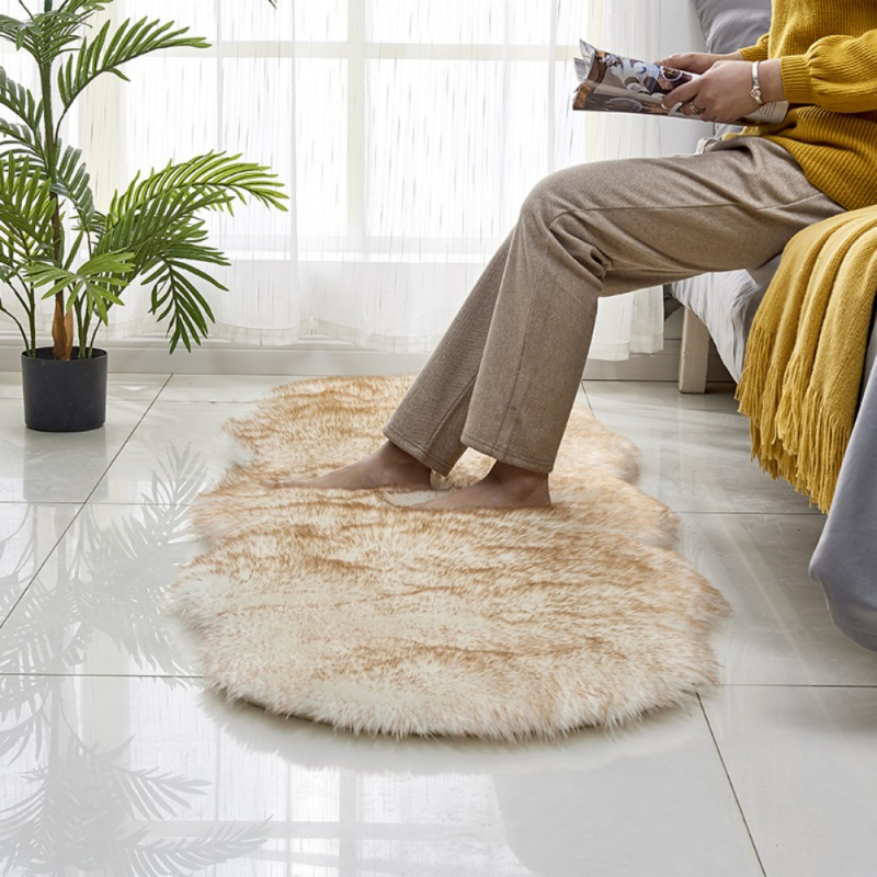 Antidérapant Ellipse Faux peau de mouton fourrure coussin tapis pour chambre sol Shaggy soyeux peluche tapis salon chambre tapis