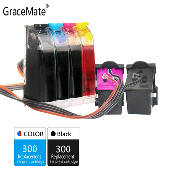 GraceMate 300 CISS Bulk Ink Replacement for HP 300 Deskjet D1660 D2560 D2660 D5560 F2420 F2480 F2492 F4210 F4224 F4272 Printer