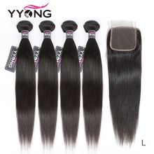 Yyong Straight Hair Bundles With Closure 4 Pieces Peruvian Human Hair Weave With Lace Closure Remy Hair Extensions 5 Pcs/Lot(China)