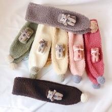 Soft Children Unisex Autumn Winter Fashion Casual All-match Warm Cute Plush Bear Decoration Lambskin Scarf