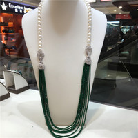 hot sell 9 10 mm white freshwater pearl necklace green beads multilayer long sweater chain fashion jewelry 32inches