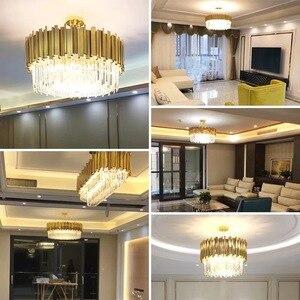 Image 3 - Modern luxury round gold crystal chandelier lighting for living room dinning room zyrandol LED hanging lamp kitchen chandeliers