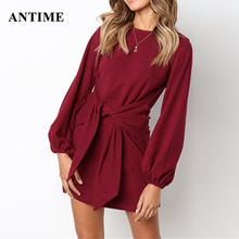 Antime Herfst Winter Fashion Lace Up Mini Jurk Casual Solid O Hals Lantaarn Lange Mouwen Vrouwen Wit Rood Groen Jurken vestidos(China)