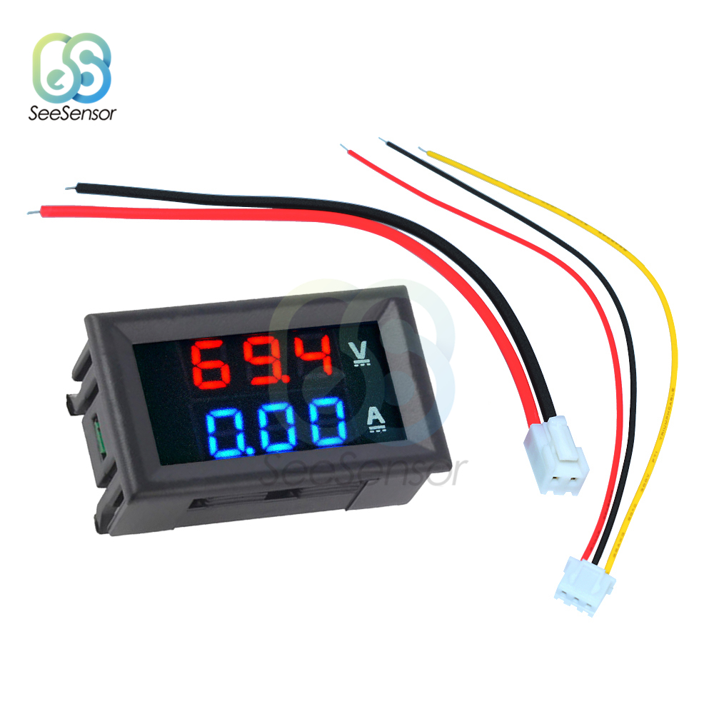 Цифровой вольтметр, амперметр постоянного тока 100 в 10 А 50 А 100 А, двойной светодиодный дисплей, панель, вольтметр, измеритель напряжения, тока,...