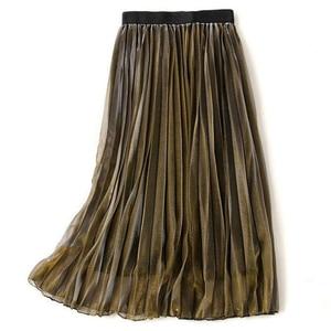 Image 4 - נשים קיץ קפלים חצאיות 2019 רשת Midi Saia גבוה מותניים בציר תחרה גברת חצאית נהיגה לראשונה חצאית Femme Falda Etek Mujer אפור סגול ירוק