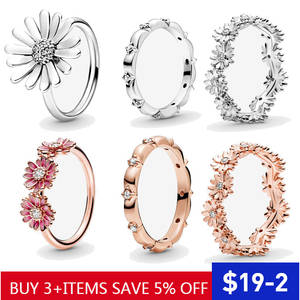 Hot Sale 100% 925 Sterling Silver Rings Wholesale Popular Flower Lucky Rings For Women Jewelry Making Dorpshipping