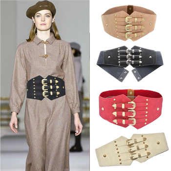 Luxury Lady\'s Dress Waistband Punk Wide Belts For Women Retro Metal Pin Buckle Faux Leather Elastic Corset Designer Brand bg-361 - DISCOUNT ITEM  38 OFF Apparel Accessories