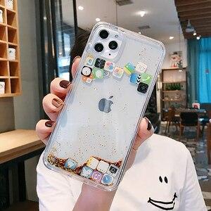 Image 3 - Custodia per telefono Quicksand dinamica di lusso per iPhone 11 12 Mini Pro Max XS Max X XR 7 8 Plus Cover posteriore rigida per Pc con Glitter per cartoni animati