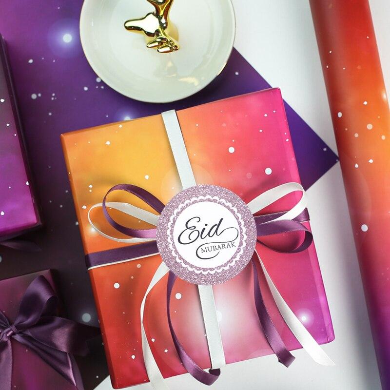 60pcs Eid Mubarak Stickers on Gift Boxes Cake Box Sticker Sealing  Decoration Ramadan Mubarak Kareem Party Decorative Art Decals