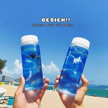 Creative 450ML Blue cup Ocean Gradation Whale Glass Water Bottle Cute Whale Polar Bear Animal Cold Deinkware With Bottle Set