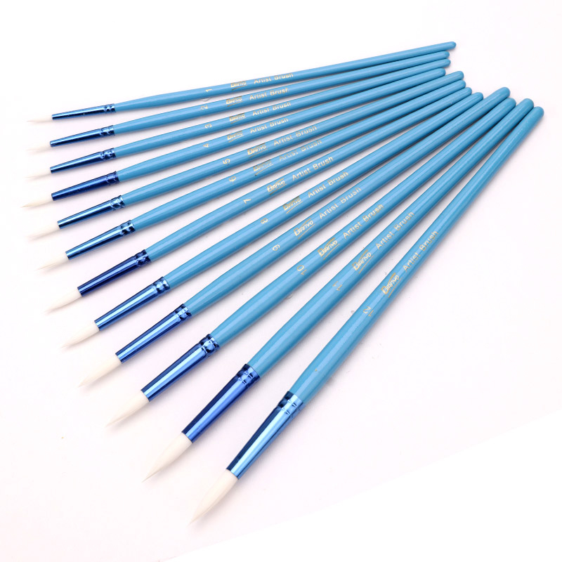 12Pcs Paint Brush Set Different Size Round Tip Artist Nylon Hair Blue Wooden Handle Watercolor Brush For School Supplies