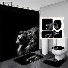 Набор штор для душа с изображением Льва зебры, акулы, животных, черного цвета, водонепроницаемый экран для купания, фланелевая Крышка для ун...