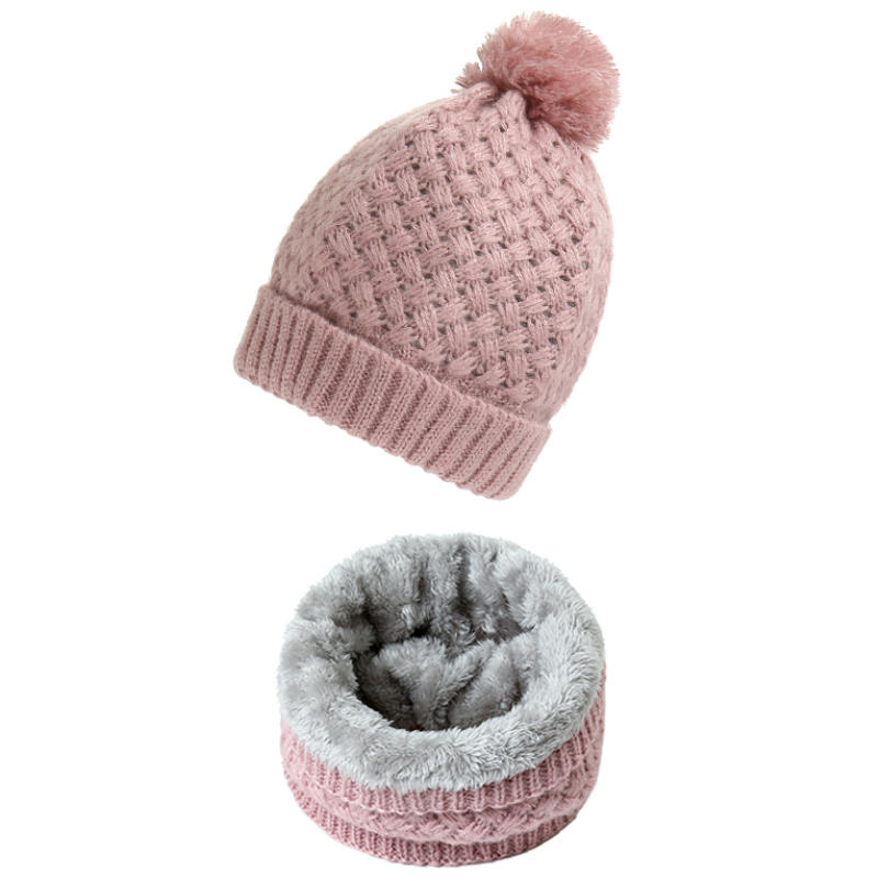 Women Winter Solid Knitted Scarf Set Snood Neck Beanie Hat Easy Scarves Cashmere Warm Fur Cap Wool Collars Scarfs For Kid Men